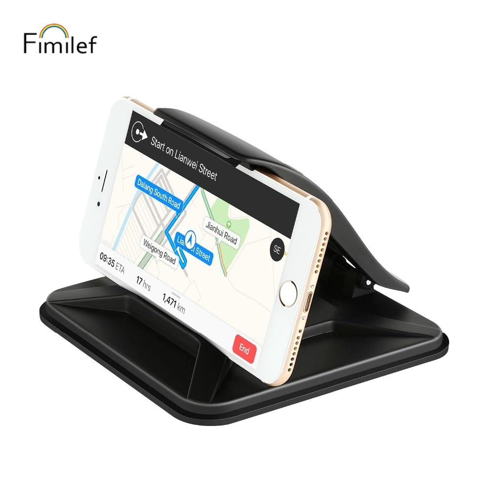Fimilef Car Mobile Phone Holder Clip Stand Universal Dashboard Desktop Mount Holder Stand For IPhone Samsung Huawei GPS Bracket