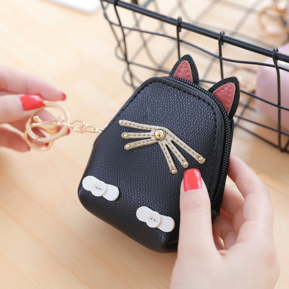Cat coin purses women small wallets cute cartoon kawaii girls card holder key money bags ladies kids children shell bag pouch 10 candy colored girls coin bags women key wallets cute pu eva mini square storage hard bag case holder for sd tf card earphone