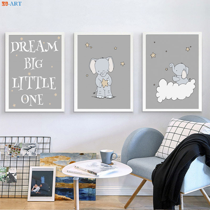 US $3.68 38% OFF|Elephant Nursery Art Print Cartoon Poster Cute Canvas  Painting Kids Wall Art Baby Bedroom Decoration Pictures No Frame-in  Painting & ...