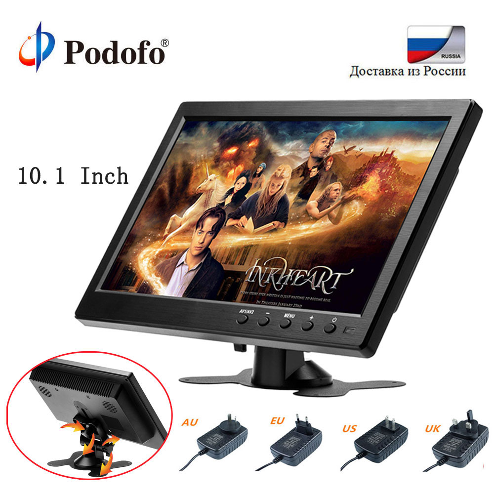 Podofo CAR HD 1024*600 10.1 Inch Color TFT LCD Screen Slim Display Monitor for Truck Bus Vehicle Support HDMI VGA AV USB SD Port цена 2017