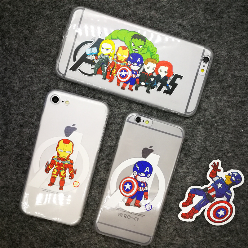 For Iphone 5 5s Se 6 6plus 6s Plus 7 7plus 8 X 10 Tpu Case New Marvel Cartoon Captain Iron Man Clear Silicone Soft Phone Cover ...
