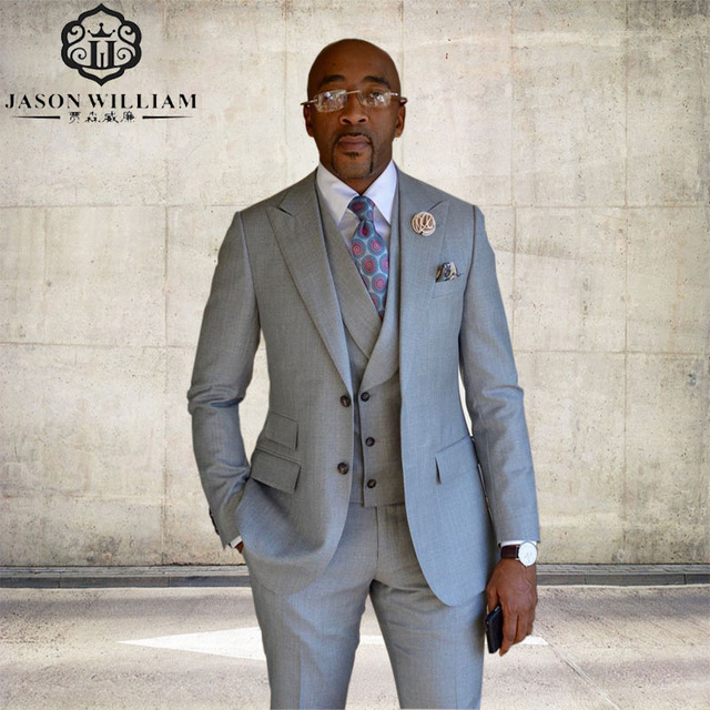 LN146 Customized Silver Groom Tuxedos Men Suit 2018 terno ...