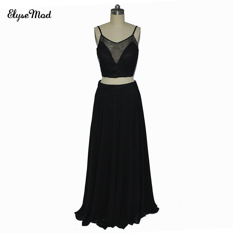Bretelles Spaghetti robe en mousseline de soie robes longues pour les femmes deux pièces robe de soirée de mariage robes de demoiselle d'honneur noir robe de Festa