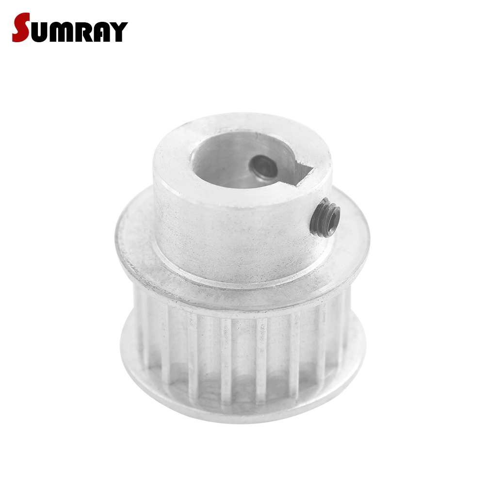 SUMRAY 5M 19T Timing Pulley 8/10/12/14/15/16/17mm bore keyway diameter 3/4/5mm 21mm width Aluminium Motor Pulley for CNC MachineSUMRAY 5M 19T Timing Pulley 8/10/12/14/15/16/17mm bore keyway diameter 3/4/5mm 21mm width Aluminium Motor Pulley for CNC Machine