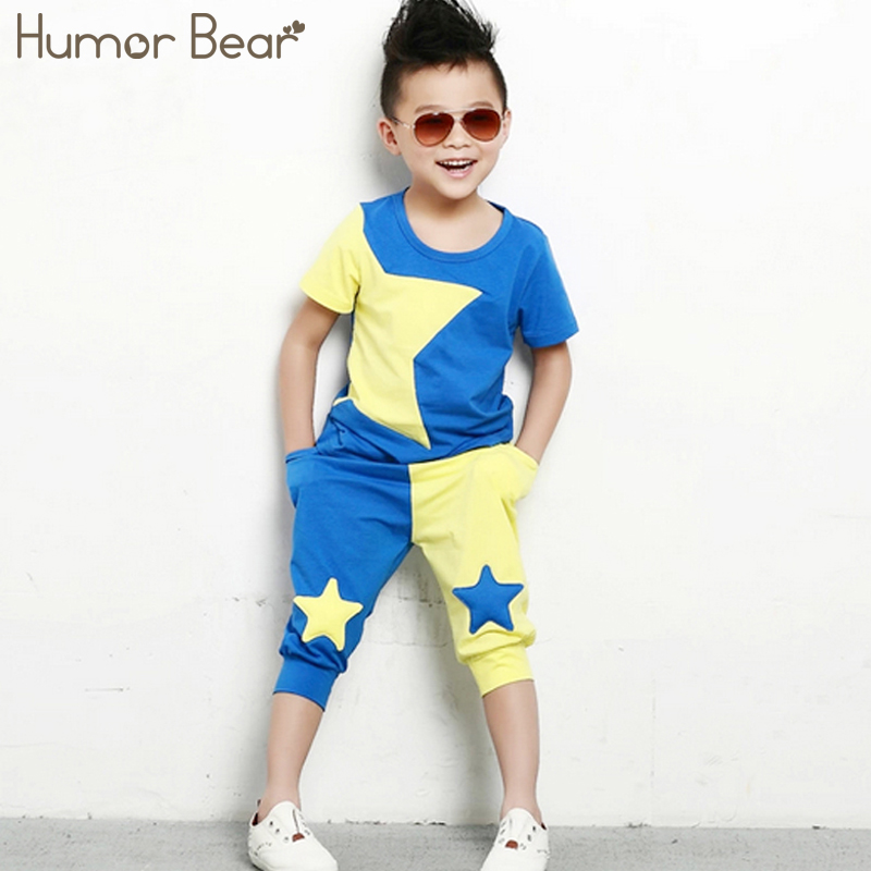 Humor Bear Children Clothing Set stars boys set baby sets short t shirt+pants 2 pcs set clothes kids suit 2-6Years