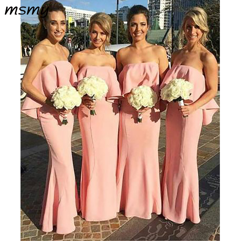 New Simple Mermaid   Bridesmaid     Dresses   Ruffles Sleeveless Pink StraplessCheap   Bridesmaid     Dresses   Custom Made
