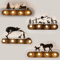 Vintage Tree Elk Dutch Windmill Totoro Cowherd and Weave LED Wall Lamps Light Bedside Wall Shelf Industrial Home Cafe Decoration