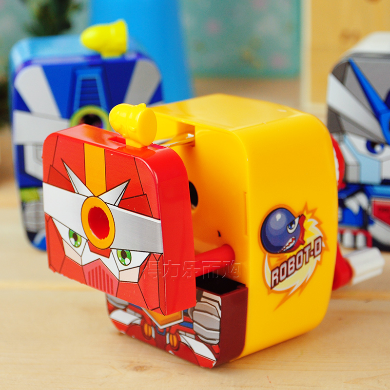 1 Pc Plastic Cartoon Roberto Pencil Sharpeners Transformers Hand Crank Pencil Cutting Machine School Stationery Deli 0672