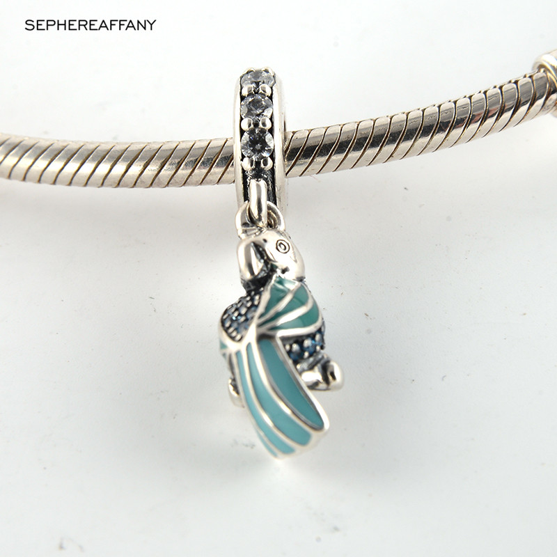 c0eff4053 Summer Blue Enamel parrot With Clear CZ Charm 925 Sterling Silver Beads Fit  Pandora Bracelet Necklace