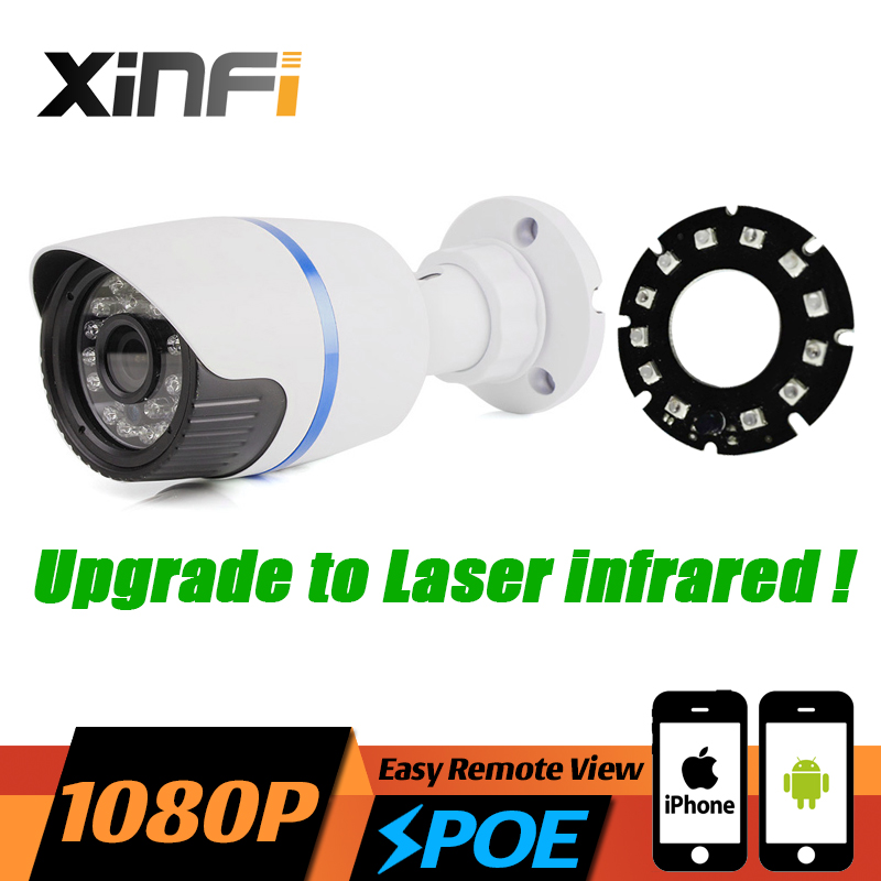 2017 HD 1080P POE CCTV IP camera 2MP night vision indoor/Outdoor Waterproof surveillance camera ONVIF Remote view Laser IR LED