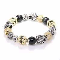 Thomas Gold Color Bead Bracelet With SKULL Love Knot Beads Rebel Heart Bracelet Jewelry For Women