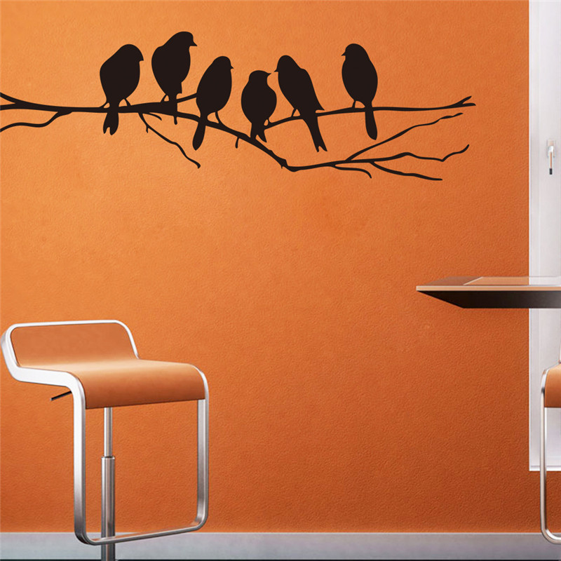 Simple Style Tree Bird House Office Decoration Wall Stickers Fashionable Wallpaper Decals Wall Vinyls For Kitchen