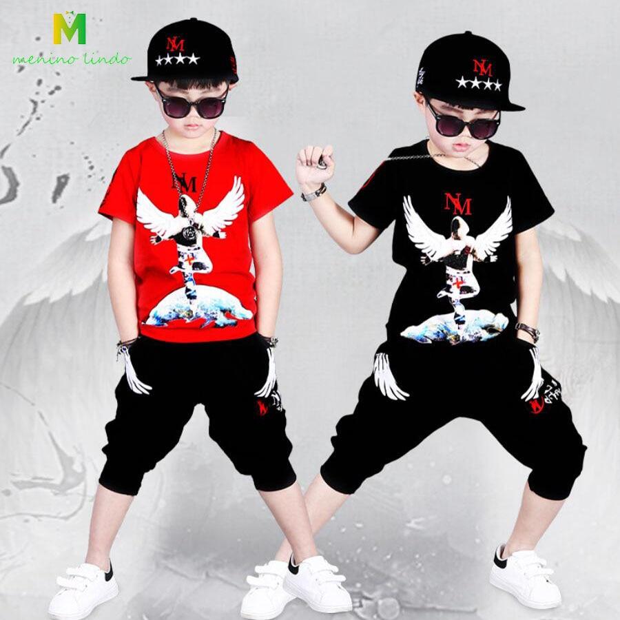Kostuum voor jongen 3-13T kinderen zomer katoenen T-shirt + broek kleding sets jongens kleding kinderen street dance kostuum fahison jongens