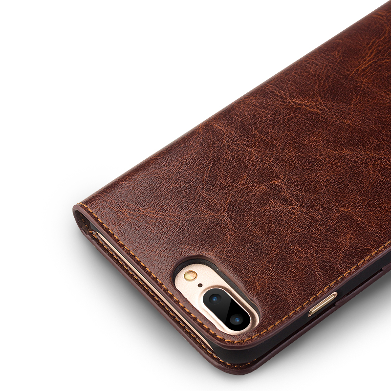 premium selection 44c76 fa924 US $24.77 22% OFF|QIALINO for iphone 7 Case Genuine Dermis Leather Ultra  thin Case for iphone 7 plus Flip Cover with Stand Wallet Bag Card Holder-in  ...