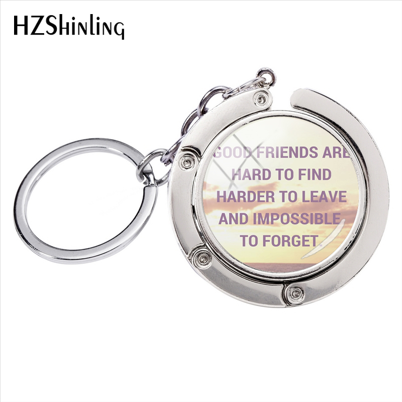 New Novelty Style Best Friendship Quotes Art Photos Bag Hanger Glass Cabochon Round Key Rings Gifts image