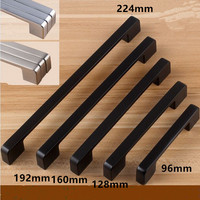 96 128 160 192 224 320mm Modern Simple Fashion Furniture Handle Black Kitchen Cabinet Wardrobe Dresser