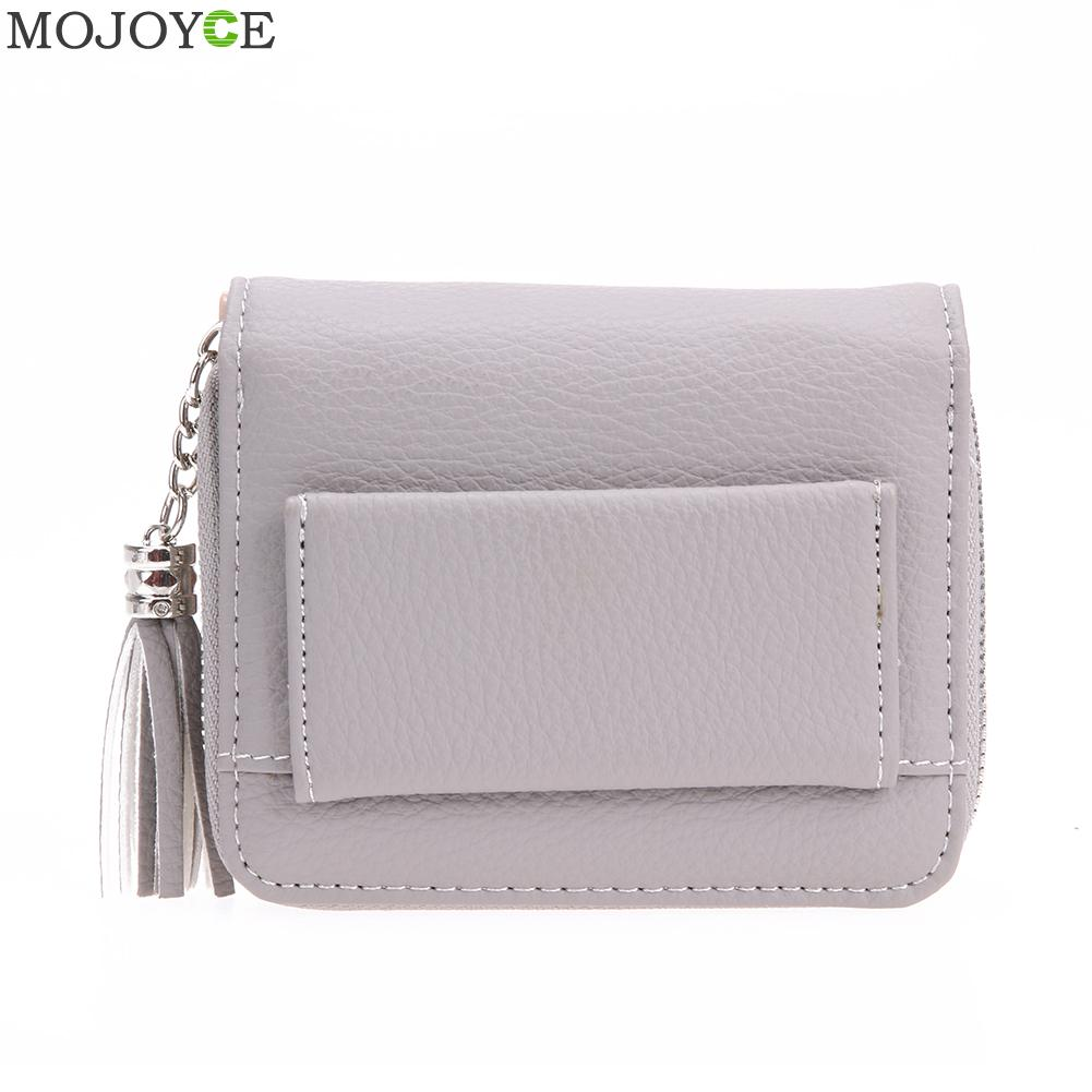 Women PU Wallet RFID Anti-magnetic Short Wallet Tassel Card Coin Holder Lady Zipper Coin Purse Pocket Purses Female Money Bags