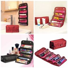 2019 Portable Travel Roll-up Cosmetic Makeup Case Foldable Organizer Pouch Hanging Toiletry Storage Bags 4 zipper compartment