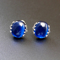 Retro royal palace 925 Sterling silver Vintage blue stud earrings female Blue corundum Natural semi precious stones genuine