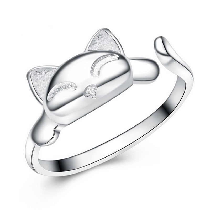 Модные милые кольца с лисой милые животные забавные вечерние кольца на палец для женщин ювелирные изделия из стерлингового серебра 925 пробы Бесплатная доставка