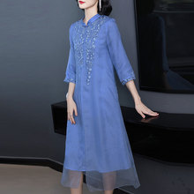 Blue mulberry silk dress for women high quality plus size large midi embroidery floral robe dresses summer elegant vintage China