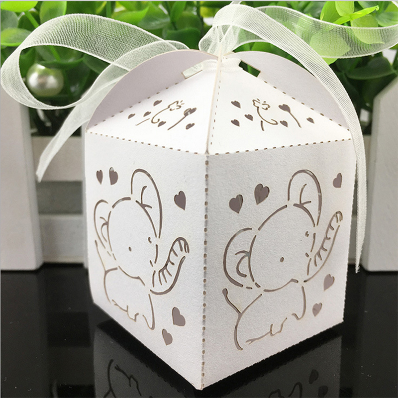 10pcs Elephant Laser Cut Hollow Carriage Favors Box Gifts Candy Boxes With Ribbon Baby Shower Wedding Event Party Supplies