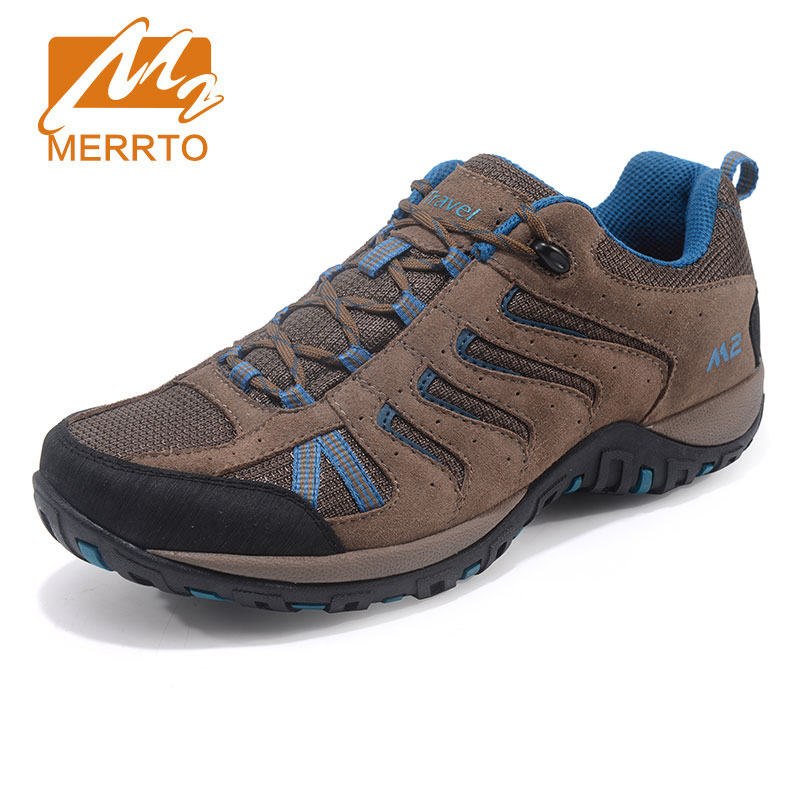 MERRTO Men's Hiking Shoes Non Slip Comfortable High Quality Leather Outdoor Sports Travel Shoes Breathable Rock Climbing Shoes yin qi shi man winter outdoor shoes hiking camping trip high top hiking boots cow leather durable female plush warm outdoor boot