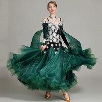 Modern Dance Costume Ballroom Dancing Dress Standard Dresses Luminous Ballroom Dress Adult Waltz Rhinestones Dance Wear DQS2248