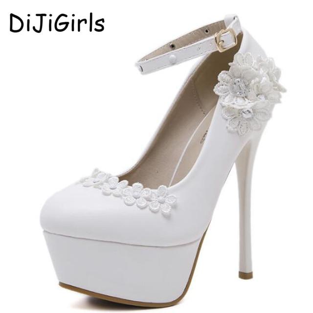 flor bombas 2017 zapatos de novia blanco zapatos de tacón alto