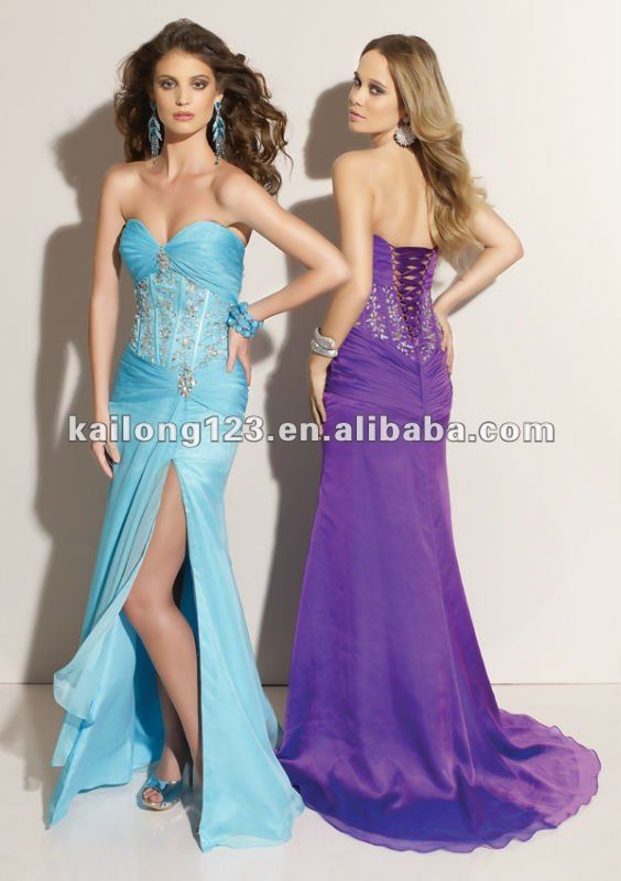 Sweetheart Slim A Line Court Train Floor Length Blue Purple Beaded Corset Ruched Slit Chiffon
