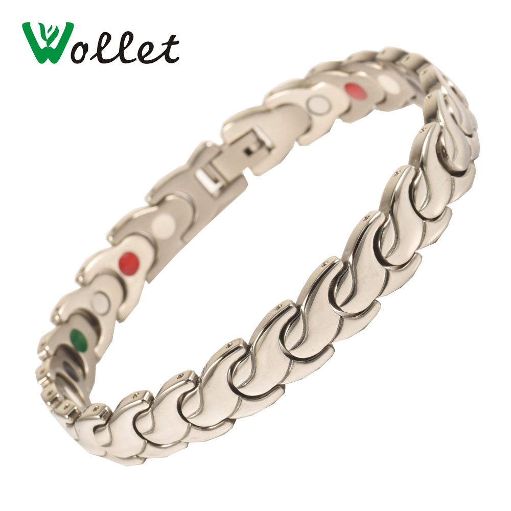 Wollet Jewelry 316L Magnetic Infrared Germanium Powder Tourmaline Stainless Steel Bracel ...