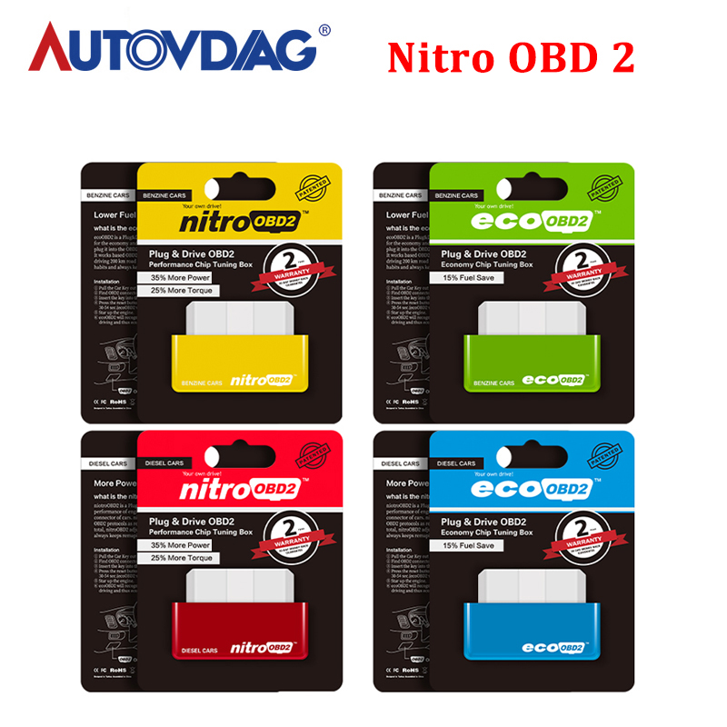 Super <font><b>ECO</b></font> NitroOBD2 Diesel Benzine <font><b>Car</b></font> Scanner Chip Tuning <font><b>Box</b></font> OBD2 OBD Plug and Drive More Power Torque For NitroOBD Gasoline image