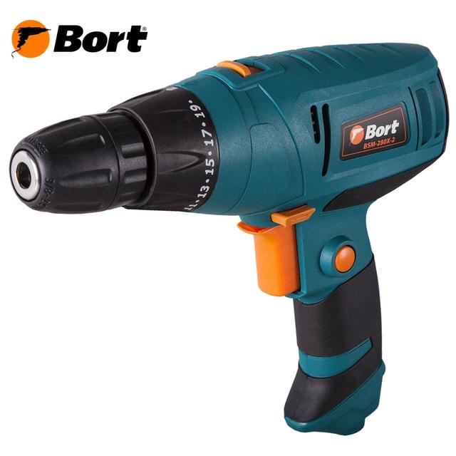 Дрель-шуруповерт электрический Bort BSM-280X-2 (Мощность 280 Вт, 2 скорости 0-300/0-1000 об/мин, макс.крутящий момент 20 Нм, быстрозажимной патрон)