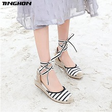 TINGHON Summer Stripe Black Beige Women Platform Sandals 5CM Heel Wedge Espadrilles back strap Comfortable