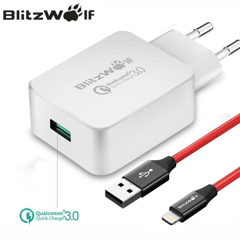 BlitzWolf QC3.0 USB Ladegerät EU Handy Ladegerät Adapter Wand Reise Ladegerät Mit USB Kabel Für Xiaomi Für Samsung Für iPhone