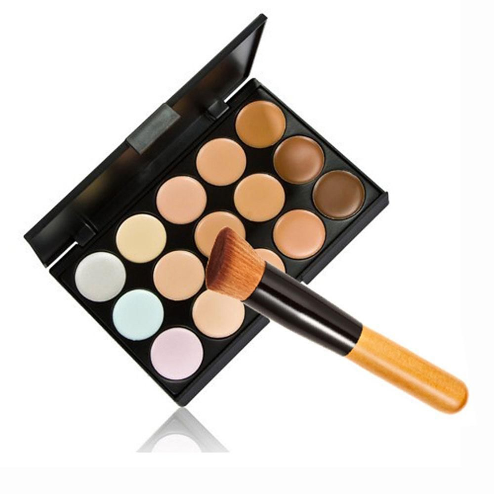 15 Colors Facial Concealer Makeup Pallette Corrector Makeup Base necessary Pallette+Sponge Puff+Powder Brush Sets high quality 8pcs makeup brushes cosmetics eyeshadow eyeliner brush kit 15 color concealer facial care camouflage makeup palette sponge puff