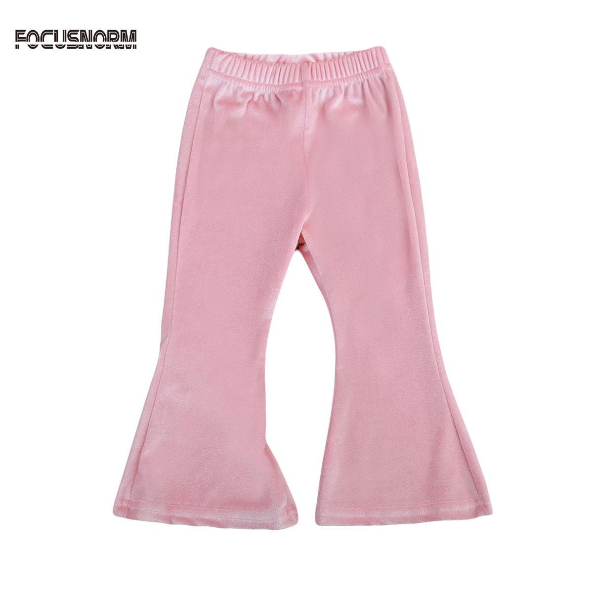 Toddler Kids Trousers Baby Girls Solid Velour Flare Pants Bell-bottom Leggings