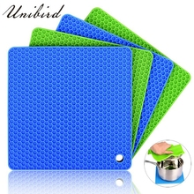 161f0442079 Unibird Silicone 4 in 1 Multipurpose Honeycomb Pot Holders Coaster Thicken Square  Non-slip Mat