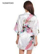 VLENATLNO 結婚式の花嫁介添人花ローブサテンレーヨンバスローブナイトガウン女性着物パジャマ花プラスサイズ