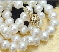 Exquisite 8 9mm REAL White Cultured Pearl Necklace