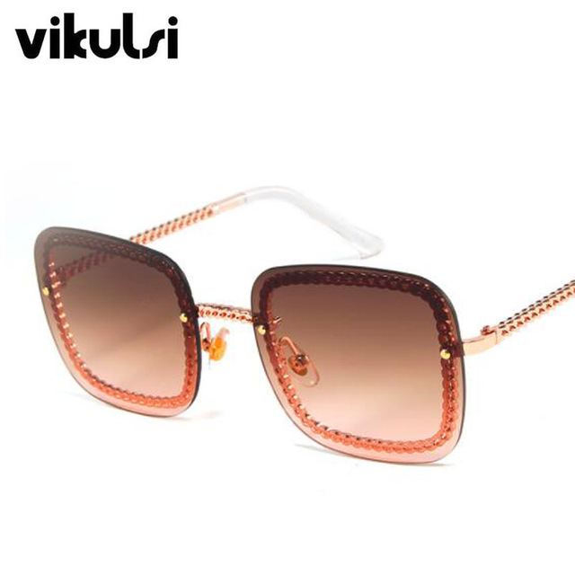 2019 Luxury Trend Square Sunglasses Women UV400 Retro Brand Designer Chain Metal Frame Sun Glasses For Female Oculos Eyewear Men