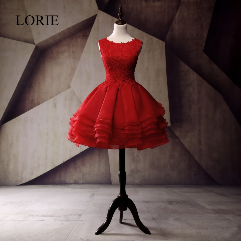 Rote kurze Ballkleider für Teenager 2018 Rüschen Organza Vintage Spitze Applikationen Kleid für Abschluss Homecoming Party Minikleider