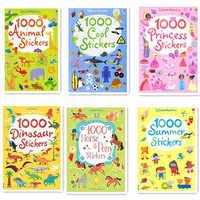 1000 Uds. Pegatinas de escena de dibujos animados niños libros de pegatinas con animales princesa dinosaurio libros de viaje preescolar 15,2*21 cm