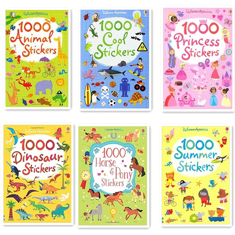 1000 Pcs Cartoon Scene Stickers Kids Sticker Books With Animals Princess Dinosaur Travel Books Preschool 15.2*21cm