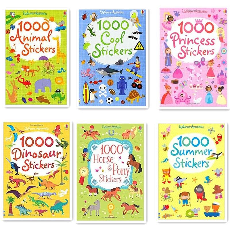 1000 Pcs Cartoon Scene Stickers Kids Sticker Books With Animals Princess Dinosaur Travel Books Preschool 15.2*21cm