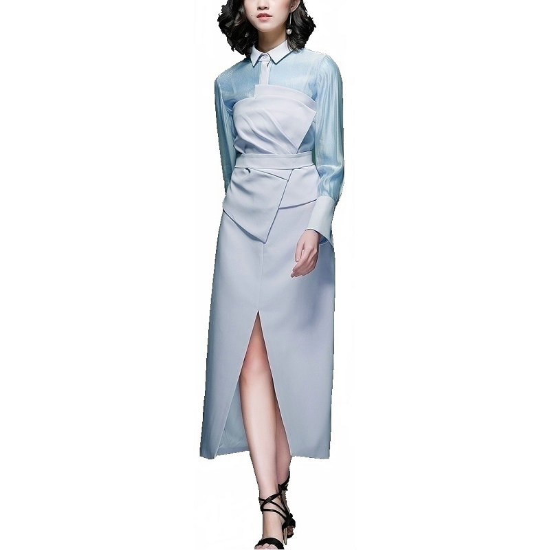 2018 Autumn Women Bule Skirt Suit Fashion Elegant Long Sleeve Asymmtrical Shirts and Split Skirts Sets streetwear office lady