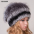 Chapéu de Pele de Coelho Rex Mulheres Inverno Real Fur Caps Com Pom Pom Bolas De Pele De Raposa de prata Chapéus Russa Ushanka Cap Hat Gorros Para As Mulheres