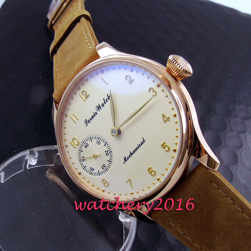 цена Simple 44mm Parnis yellow dial rose golden polished case 17 jewels 6497 hand winding movement Men's Watch онлайн в 2017 году