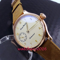 Simple 44mm Parnis yellow dial rose golden polished case 17 jewels 6497 hand winding movement Men's Watch