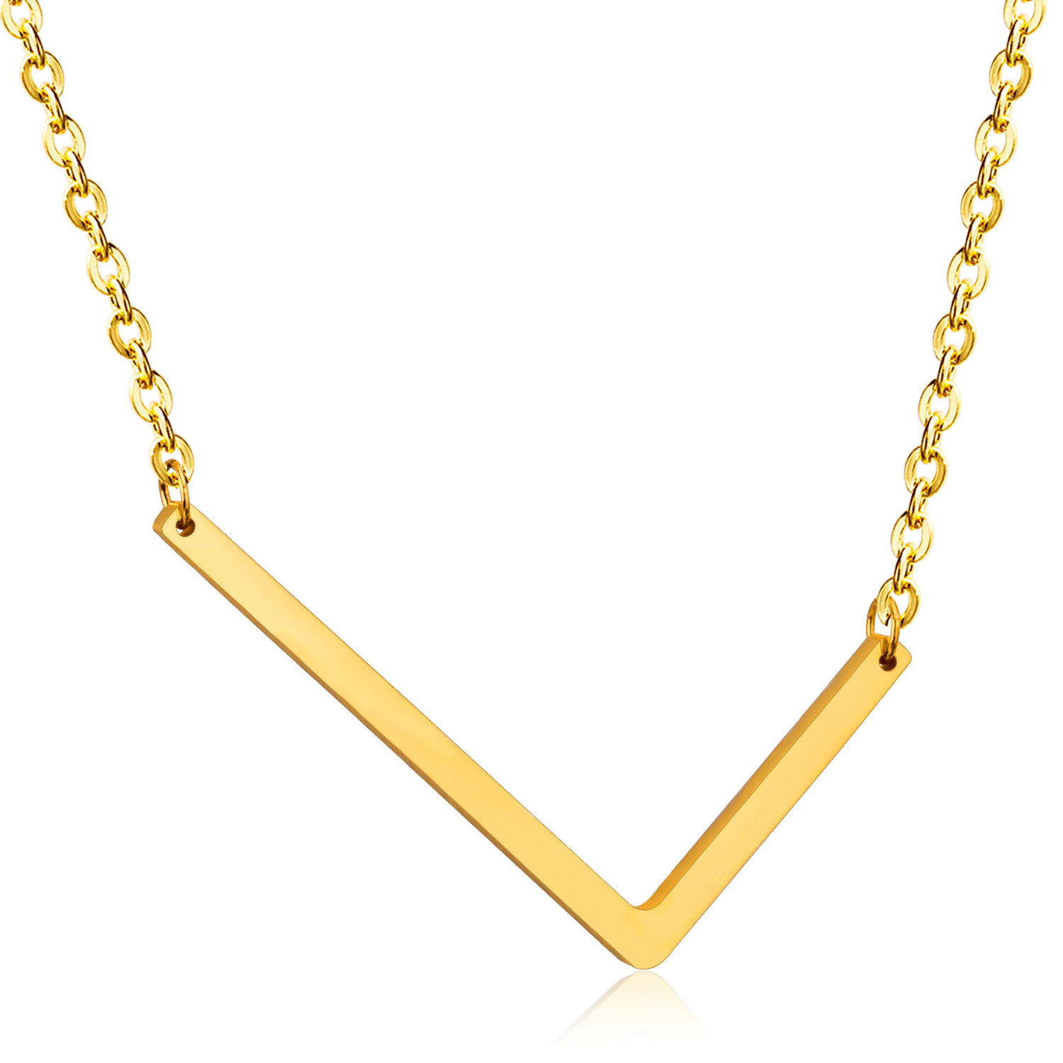 Trendy necklace for women with l shaped pendant gold for Gold necklace with letter l